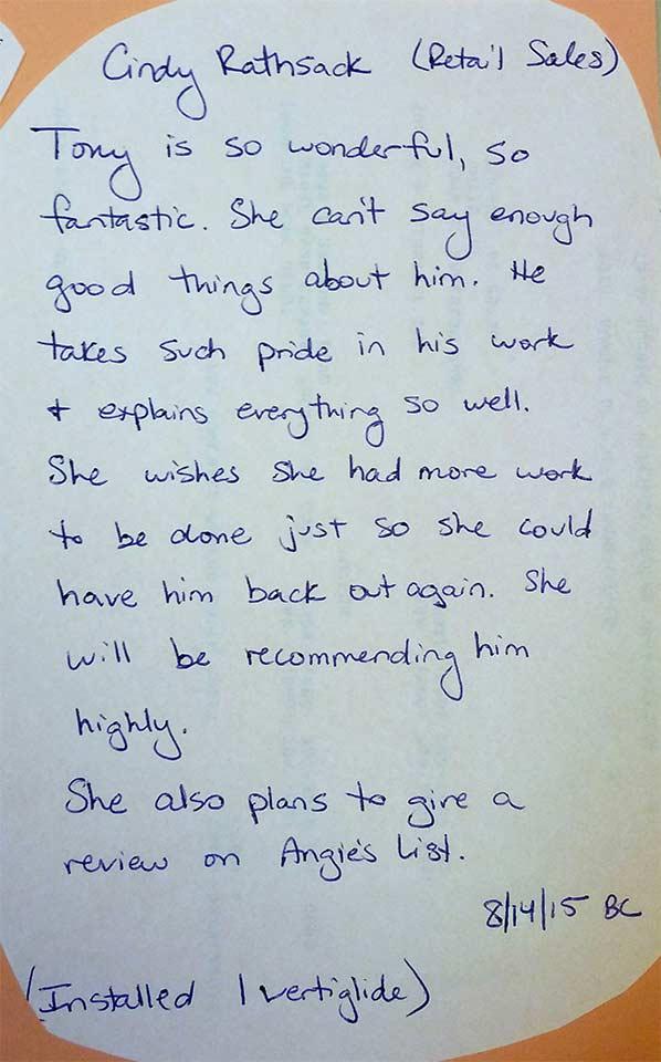 handwritten customer testimonial